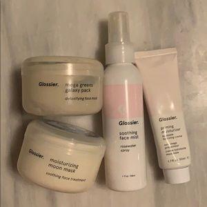 Glossier full size grab bag (masks, spray, primer)